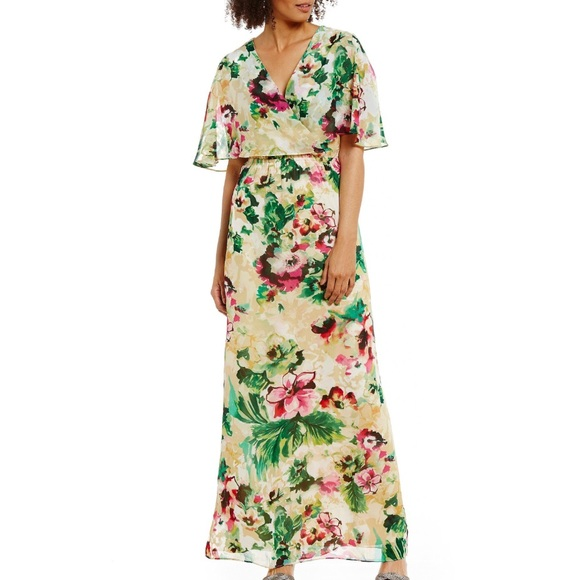 6fdeca4ee461 Leslie Fay Dresses & Skirts - Leslie Fay Tropical Floral Chiffon Maxi Dress